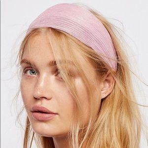 NWT Free People Shimmer Gauze Headband Pink